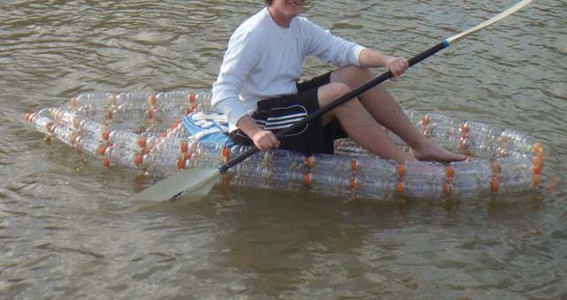 The boat out of plastic bottles